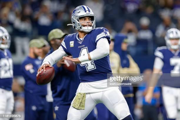 Dallas Cowboys Quarterback Dak Prescott warms up prior to the game between the Minnesota Vikings and Dallas Cowboys on November 10, 2019 at AT&T...
