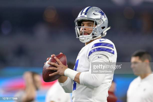 Dallas Cowboys quarterback Dak Prescott warms up prior to the NFC wildcard playoff game between the Seattle Seahawks and Dallas Cowboys on January 5...