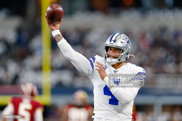 Dallas Cowboys Quarterback Dak Prescott warms up prior to the NFC East game between the Dallas Cowboys and Washington Redskins on December 29 2019 at...
