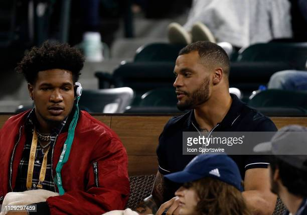 Dallas Cowboys quarterback Dan Prescott watches a second round match between Serena Williams and Victoria Azarenka of the BNP Paribas Open on March...