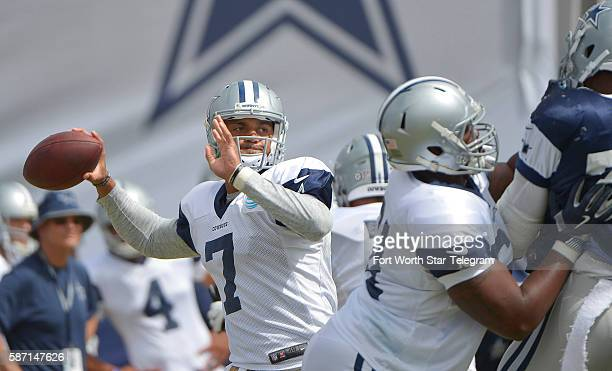 Dallas Cowboys quarterback Jameill Showers drops back to pass during the Blue vs White scrimmage on Sunday Aug 7 2016 at Cowboys training camp in...