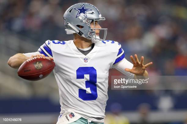 Dallas Cowboys quarterback Mike White drops back to pass during the preseason football game between the Dallas Cowboys and Arizona Cardinals on...