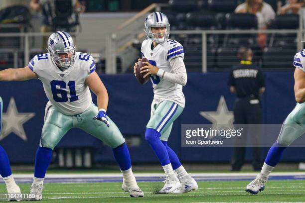 Dallas Cowboys quarterback Mike White drops back to pass during the preseason game between the Tampa Bay Buccaneers and Dallas Cowboys on August 29,...