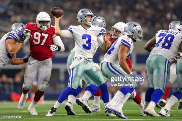 Dallas Cowboys quarterback Mike White throws a pass during the preseason football game between the Dallas Cowboys and Arizona Cardinals on August 26,...