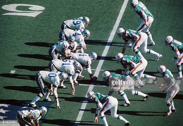 Dallas Cowboys' quarterback Roger Staubach prepares to snap at the scrimmage line during Super Bowl XI against the Miami Dolphins at Tulane Stadium...