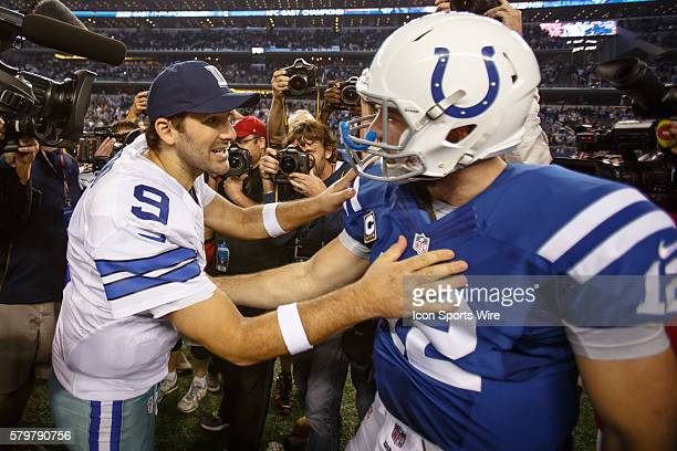 Dallas Cowboys Quarterback Tony Romo [3808] and Indianapolis Colts Quarterback Andrew Luck [14978] shake hands after the NFL game between the Dallas...