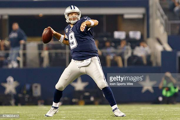 Dallas Cowboys Quarterback Tony Romo [3808] sets up for a pass during the NFL football game between the Philadelphia Eagles and the Dallas Cowboys...