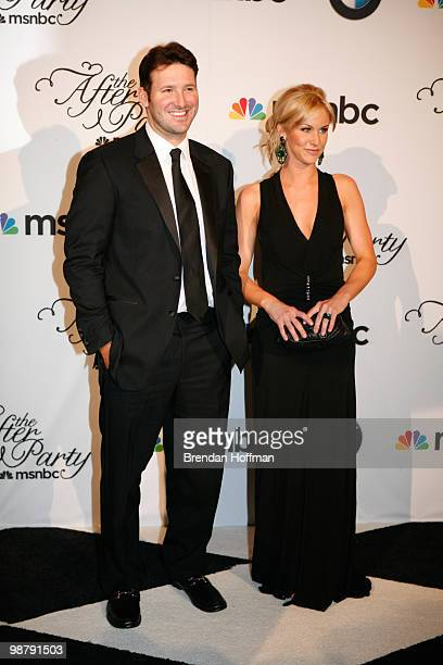 Dallas Cowboys quarterback Tony Romo and his girlfriend Candice Crawford arrive at the MSNBC Afterparty following the White House Correspondents'...