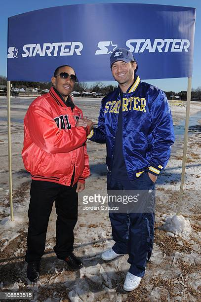 Dallas Cowboys' quarterback Tony Romo and singer/actor Ludacris attempt to shovel out the Starter field in Dallas Texas over Superbowl weekend on...