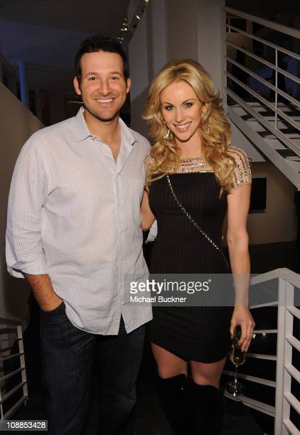 Dallas Cowboys Quarterback Tony Romo and television personality Candice Crawford attend a private dinner hosted by Audi during Super Bowl XLV Weekend...