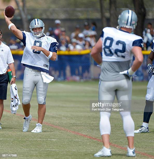 Dallas Cowboys quarterback Tony Romo and tight end Jason Witten warm up during the Blue vs White scrimmage on Sunday Aug 7 2016 at Cowboys training...