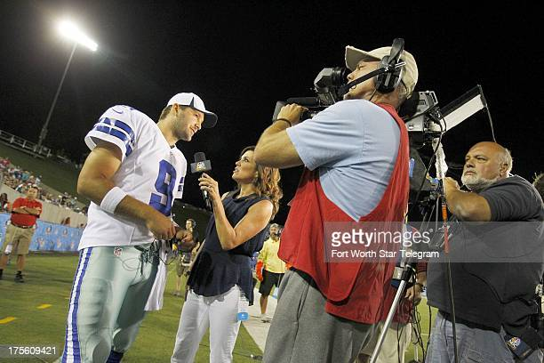 Dallas Cowboys quarterback Tony Romo is interviewed by onfield reporter Michele Tafoya in the fourth quarter of the Hall of Fame Game against the...