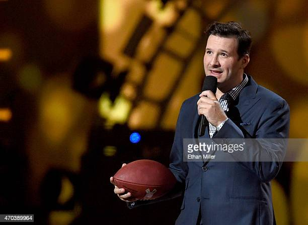Dallas Cowboys quarterback Tony Romo speaks onstage during the 50th Academy of Country Music Awards at ATT Stadium on April 19 2015 in Arlington Texas
