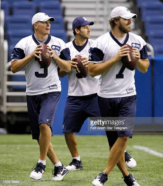 Dallas Cowboys quarterbacks Jon Kitna from left Tony Romo and Stephen McGee drop back for passing drills during the Cowboys training camp in the...
