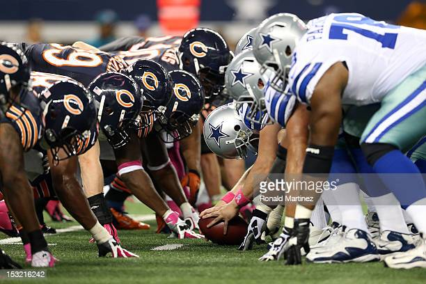 Dallas Cowboys readies to snap the ball against the Chicago Bears at Cowboys Stadium on October 1, 2012 in Arlington, Texas.