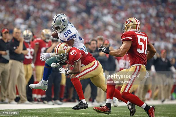Dallas Cowboys Running Back DeMarco Murray [16636] is forced out of bounds by San Francisco 49ers Cornerback Perrish Cox [9129] during the NFL season...