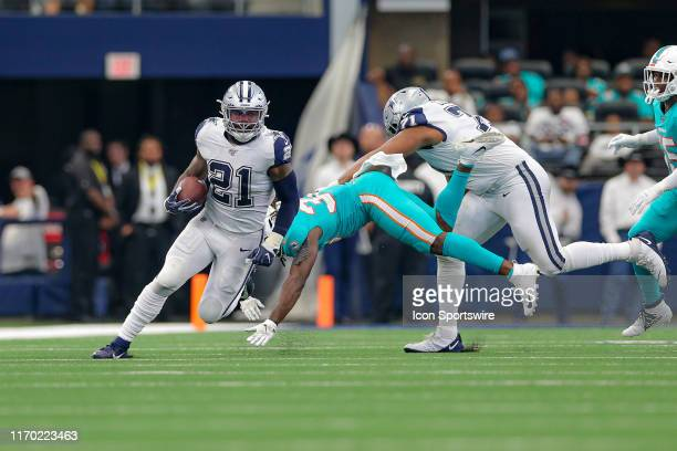 Dallas Cowboys Running Back Ezekiel Elliott breaks around the edge during the game between the Miami Dolphins and Dallas Cowboys on September 22 2019...