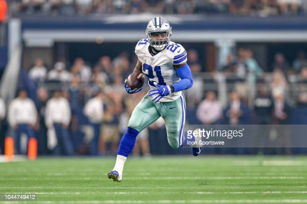 Dallas Cowboys running back Ezekiel Elliott breaks free for a long touchdown during the game between the Detroit Lions and Dallas Cowboys on...