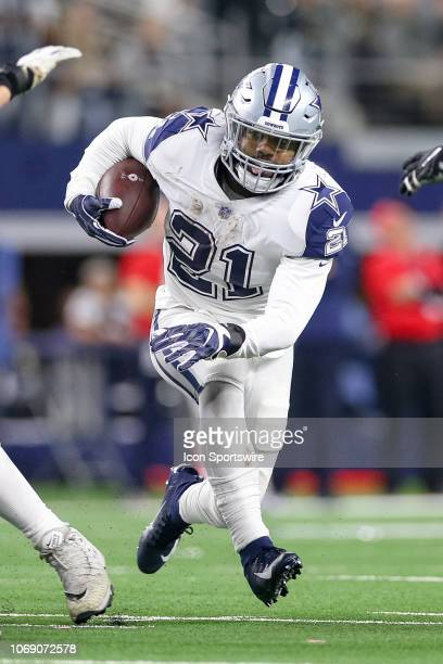 Dallas Cowboys Running Back Ezekiel Elliott breaks through a hole during the game between the Dallas Cowboys and New Orleans Saints on November 29,...