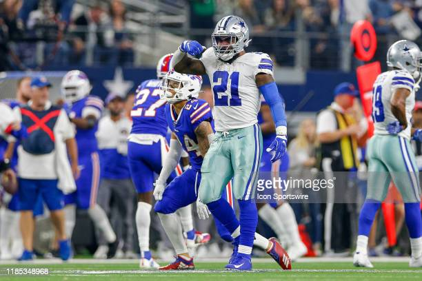 Dallas Cowboys Running Back Ezekiel Elliott gestures after a long run during the game between the Buffalo Bills and Dallas Cowboys on November 28,...