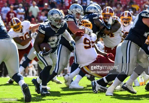 Dallas Cowboys running back Ezekiel Elliott in action against the Washington Redskins on September 15 at FedEx Field in Landover MD