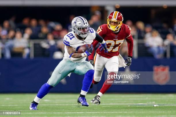 Dallas Cowboys Running Back Ezekiel Elliott is chased by Washington Redskins Cornerback Greg Stroman during the NFC East game between the Dallas...