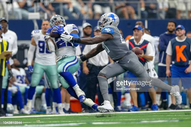 Dallas Cowboys running back Ezekiel Elliott makes a long reception late in the game between the Detroit Lions and Dallas Cowboys on September 30,...