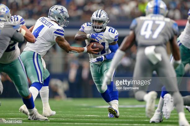 Dallas Cowboys running back Ezekiel Elliott receives the hand off during the game between the Detroit Lions and Dallas Cowboys on September 30 2018...