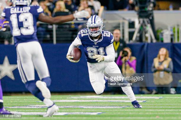 Dallas Cowboys Running Back Ezekiel Elliott rushes during the game between the Minnesota Vikings and Dallas Cowboys on November 10 2019 at ATT...