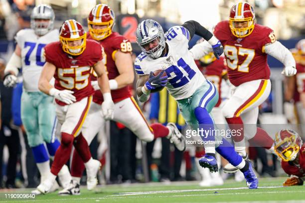 Dallas Cowboys Running Back Ezekiel Elliott rushes for a long touchdown during the NFC East game between the Dallas Cowboys and Washington Redskins...