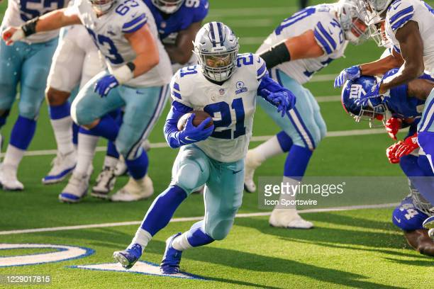 Dallas Cowboys Running Back Ezekiel Elliott rushes for a touchdown during the NFL game between the New York Giants and Dallas Cowboys on October 11...