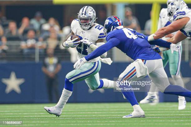 Dallas Cowboys Running Back Ezekiel Elliott rushes with the ball during the game between the New York Giants and the Dallas Cowboys on September 8...