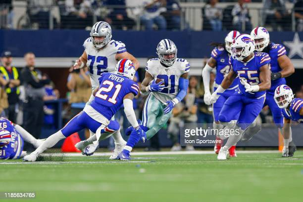 Dallas Cowboys Running Back Ezekiel Elliott rushes with the ball during the game between the Buffalo Bills and Dallas Cowboys on November 28 2019 at...