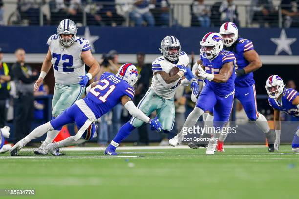 Dallas Cowboys Running Back Ezekiel Elliott rushes with the ball during the game between the Buffalo Bills and Dallas Cowboys on November 28, 2019 at...