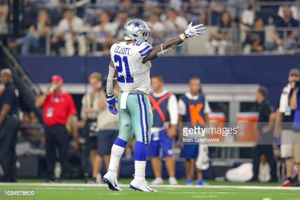 Dallas Cowboys running back Ezekiel Elliott signals first down after a long carry during the game between the New York Giants and Dallas Cowboys on...