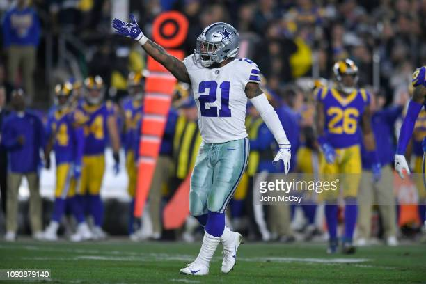Dallas Cowboys running back Ezekiel Elliott signals that he has made a first down against the Los Angeles Rams at Los Angeles Memorial Coliseum on...