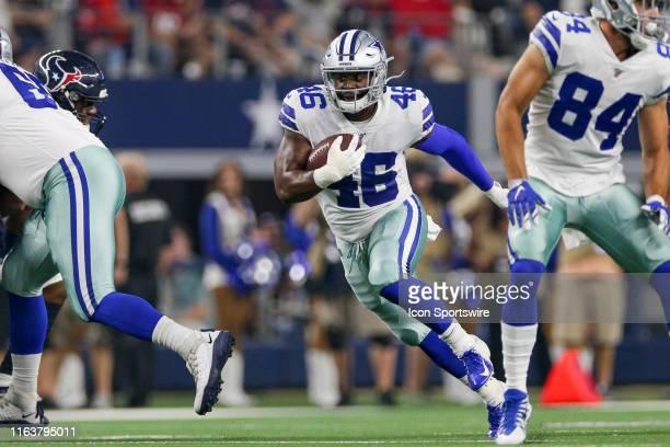 Dallas Cowboys running back Jordan Chunn rushes during the preseason game between the Houston Texans and Dallas Cowboys on August 24, 2019 at AT&T...