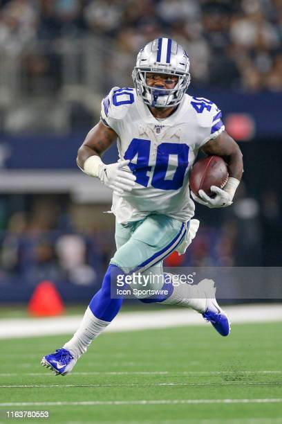 Dallas Cowboys running back Mike Weber rushes around the edge during the preseason game between the Houston Texans and Dallas Cowboys on August 24,...