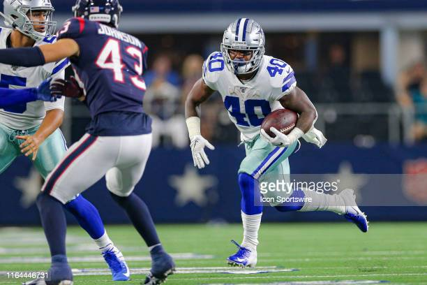Dallas Cowboys running back Mike Weber rushes during the preseason game between the Houston Texans and Dallas Cowboys on August 24, 2019 at AT&T...