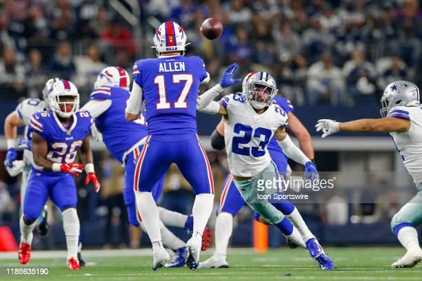Dallas Cowboys Safety Darian Thompson rushes Buffalo Bills Quarterback Josh Allen during the game between the Buffalo Bills and Dallas Cowboys on...