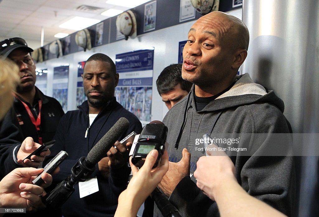 Dallas Cowboys secondary coach Jerome Henderson talks with the media during an introductory interview session of coaching staff members, Thursday, February 14, 2013 at Valley Ranch in Irving, Texas.