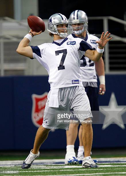 Dallas Cowboys' Stephen McGee throws the ball as he works to be the third quarterback as the Cowboys hold a practice session at Cowboys Stadium in...