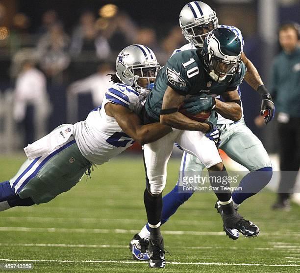 Dallas Cowboys strong safety JJ Wilcox and Brandon Carr chase Philadelphia Eagles wide receiver DeSean Jackson at ATT Stadium in Arlington Texas on...