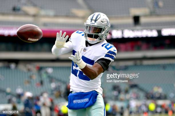 Dallas Cowboys strong safety Xavier Woods warms up before the NFL game between the Dallas Cowboys and the Philadelphia Eagles on December 31, 2017 at...