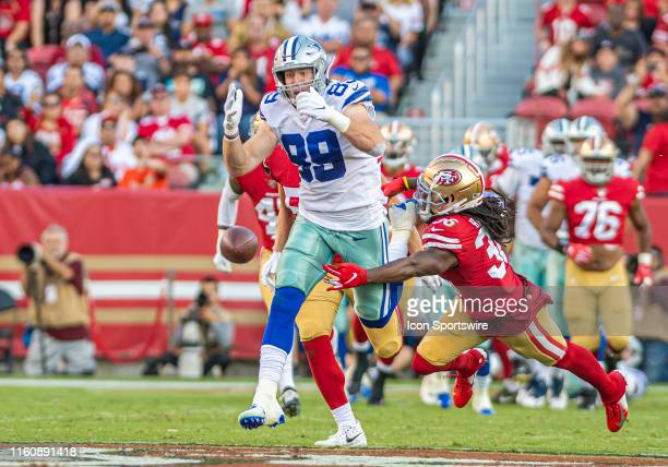 Dallas Cowboys tight end Blake Jarwin in a near catch situation during the preseason game between the San Francisco 49ers and the Dallas Cowboys on...