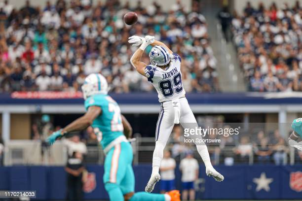 Dallas Cowboys Tight End Blake Jarwin leaps for a pass during the game between the Miami Dolphins and Dallas Cowboys on September 22 2019 at ATT...