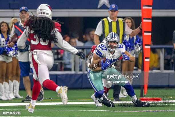 Dallas Cowboys tight end Geoff Swaim this is brought down from behind after making a first down during the preseason football game between the Dallas...
