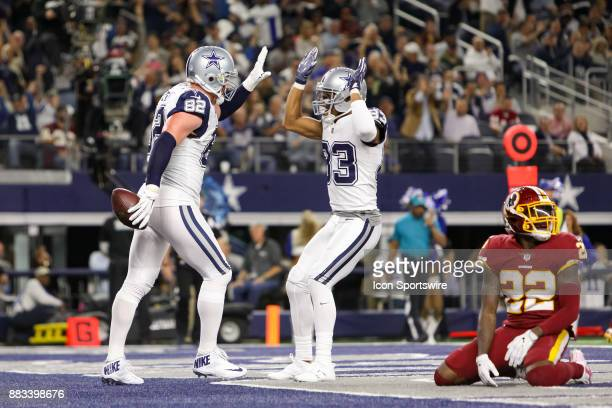 Dallas Cowboys tight end Jason Witten celebrates his touchdown with wide receiver Terrance Williams during the Thursday Night Football game between...