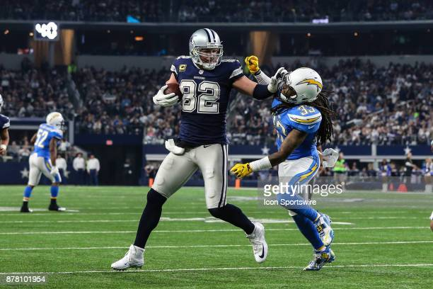Dallas Cowboys tight end Jason Witten stiff arms Los Angeles Chargers safety Tre Boston during the game between the Dallas Cowboys and the Los...