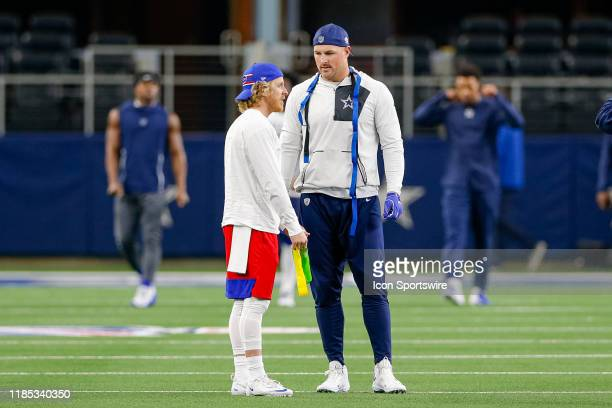 Dallas Cowboys Tight End Jason Witten talks with Buffalo Bills Wide Receiver Cole Beasley prior to the game between the Buffalo Bills and Dallas...